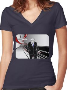 Underdog Underground, Red, White and Blue Women's Fitted V-Neck T-Shirt