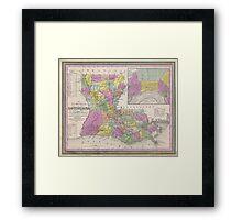 Vintage Map of Louisiana (1853)  Framed Print