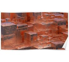 Abstract rusty metallic cubes. Grunge background. 3D illustration. Poster