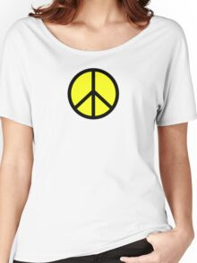 Hippie yellow black Women's Relaxed Fit T-Shirt