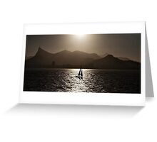 Sailing boat backlit in Rio de Janeiro Greeting Card