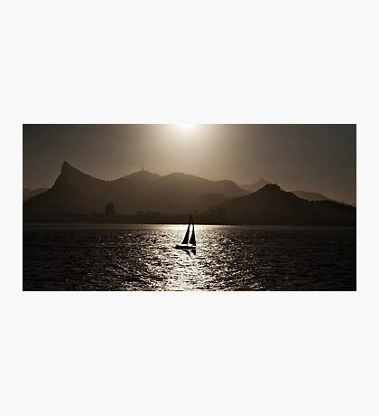 Sailing boat backlit in Rio de Janeiro Photographic Print