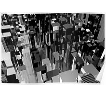 Abstract black and white city concept. 3d illustration. Poster