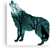 Howling Wild Wold - Turquoise Canvas Print