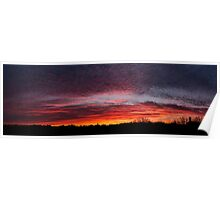 Wonderful panoramic red sunset in Senigallia Poster