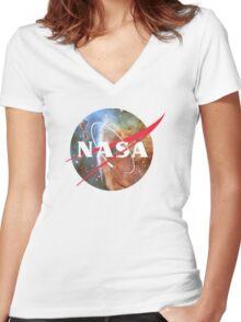 NASA Logo - Hubble, Keyhole Nebula Women's Fitted V-Neck T-Shirt