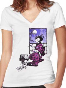 Lightly Brush Ink Women's Fitted V-Neck T-Shirt
