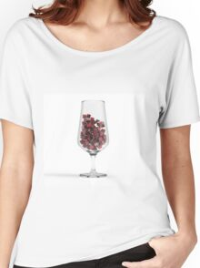 Glass With Red Coubs. 3D Illustration. Women's Relaxed Fit T-Shirt