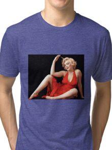 """MARILYN MONROE"" In A Red Dress Print Tri-blend T-Shirt"