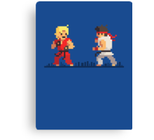 "Pixel Fighter ""Ken vs Ryu"" Canvas Print"