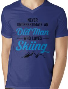 Never Underestimate An Old Man Who Loves Skiing Mens V-Neck T-Shirt