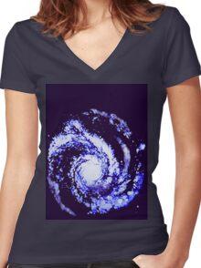 SPIRAL GALAXY (Graffiti) Women's Fitted V-Neck T-Shirt