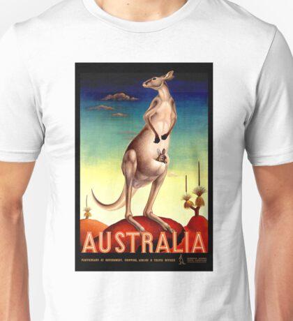 """AUSTRALIA OUTBACK"" Vintage Kangaroo Travel Poster Unisex T-Shirt"