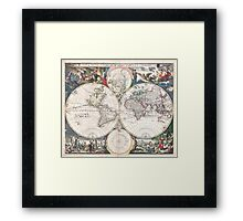 Vintage Map of The World (1685)  Framed Print