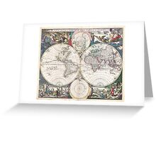 Vintage Map of The World (1685)  Greeting Card