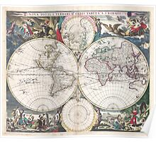 Vintage Map of The World (1685)  Poster