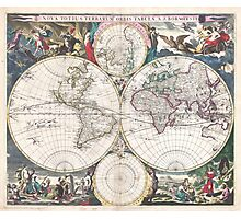 Vintage Map of The World (1685)  Photographic Print