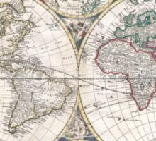 Vintage Map of The World (1685)  Sticker