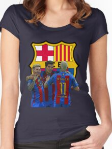 Messi Neymar Suarez Barcelona Women's Fitted Scoop T-Shirt