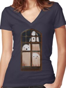 LITTLE GHOSTS Women's Fitted V-Neck T-Shirt