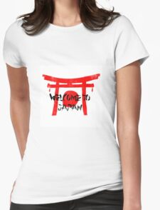 Welcome To Japan Red & Black Womens Fitted T-Shirt