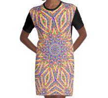 Kaleidoscope Colourful Stripes With Pink Background Graphic T-Shirt Dress