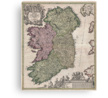 Vintage Map of Ireland (1716)  Canvas Print