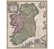 Vintage Map of Ireland (1716)  Photographic Print
