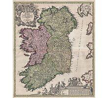 Vintage Map of Ireland (1716)  Photographic Print