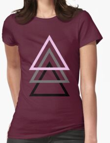 3 Triangles (pink, grey, black) Womens Fitted T-Shirt