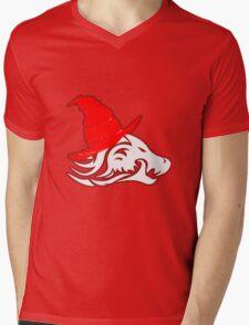 Red And White Logo Mens V-Neck T-Shirt