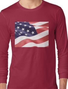 America, Colored pencils and inkpen US flag Long Sleeve T-Shirt