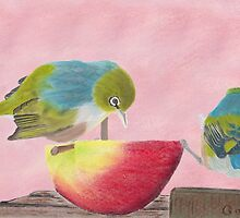"AndreaEL's ""Holding the Apple Up!"" in Pastel...  (Wax Eye NZ – Southland) by Qnita"