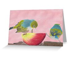 "AndreaEL's ""Holding the Apple Up!"" in Pastel...  (Wax Eye NZ – Southland) Greeting Card"