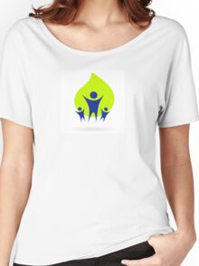 People and nature icon, adult and kids - green and blue Women's Relaxed Fit T-Shirt