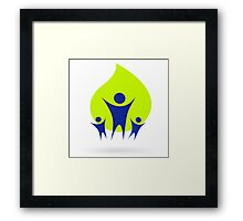 People and nature icon, adult and kids - green and blue Framed Print