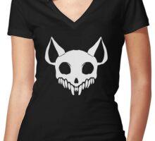 Cat Skull Women's Fitted V-Neck T-Shirt
