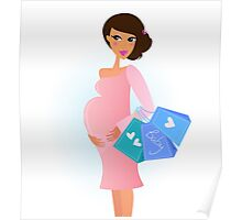 A fashionable pregnant woman in pink with shopping bags Poster