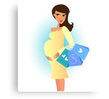 Beautiful pregnant woman on shopping for her new baby Canvas Print
