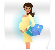 Beautiful pregnant woman on shopping for her new baby Poster