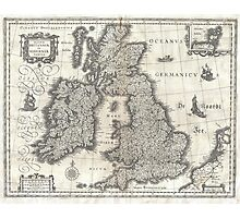 Vintage Map of England and Ireland (1631)  Photographic Print
