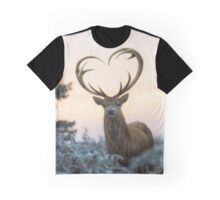 Stag With the Heart Shaped Antlers (love you deer) Graphic T-Shirt