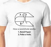 How a wormhole works (Drawing Diagram) Unisex T-Shirt