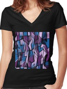 Purple abstract design Women's Fitted V-Neck T-Shirt