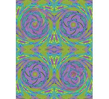 Psychedelic Green Purple Fractal Pattern Photographic Print
