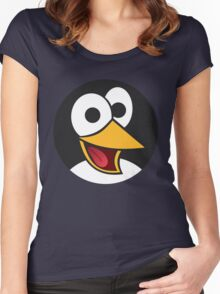 Happy Cartoon Penguin Face Women's Fitted Scoop T-Shirt