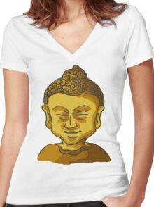 Golden Buddha's Head (Drawing) Women's Fitted V-Neck T-Shirt