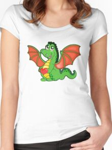 Happy Cartoon Dragon Girl Women's Fitted Scoop T-Shirt