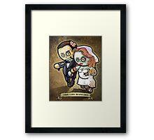 """Zombie Wedding- """"TRUE LOVE NEVER DIES"""" POOTERBELLIES Framed Print"""