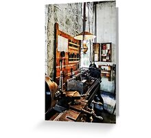 Small Lathe in Machine Shop Greeting Card